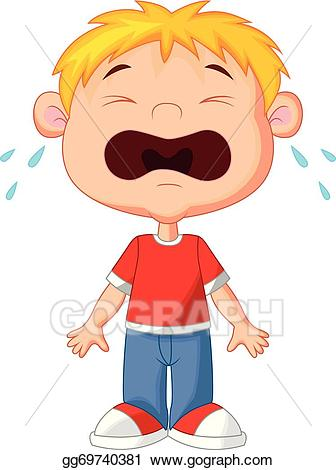 Vector stock young boy. Cry clipart child cry