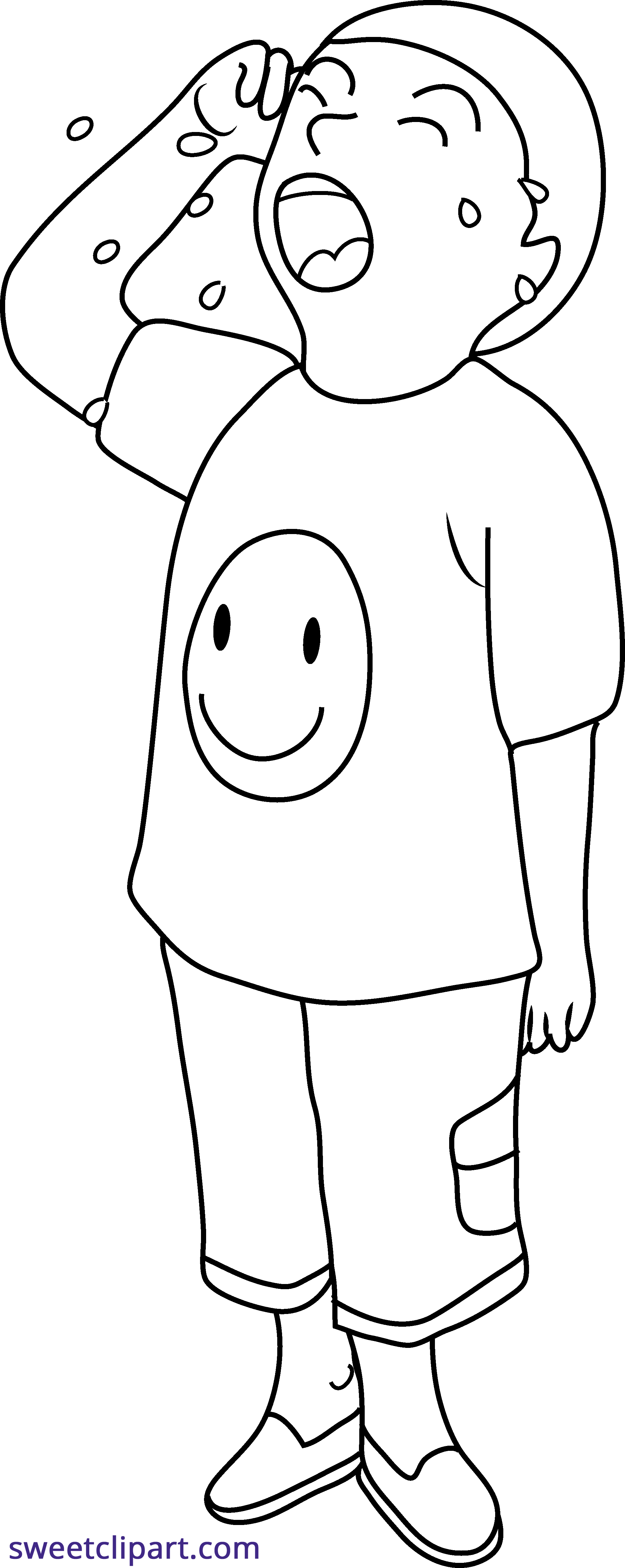 Cry clipart cry kid. Crying line art sweet