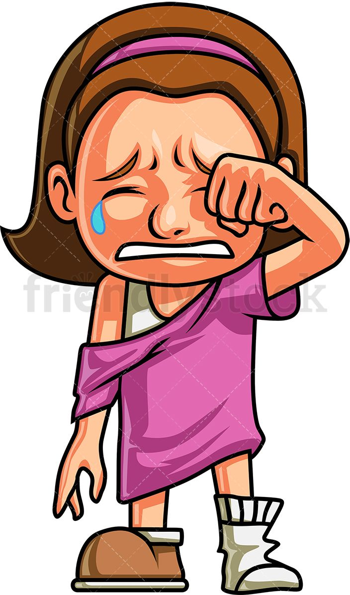 Crying girl wiping away. Cry clipart cry kid