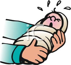 Hands cradeling a crying. Cry clipart newborn