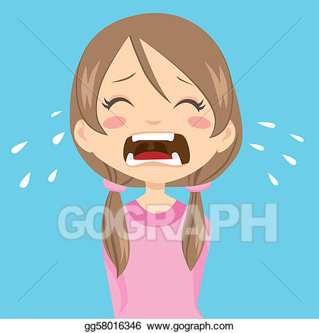 Cry clipart sad little girl. Vector art crying drawing