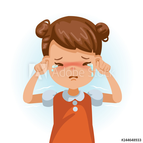 Crying children s mood. Cry clipart sad little girl
