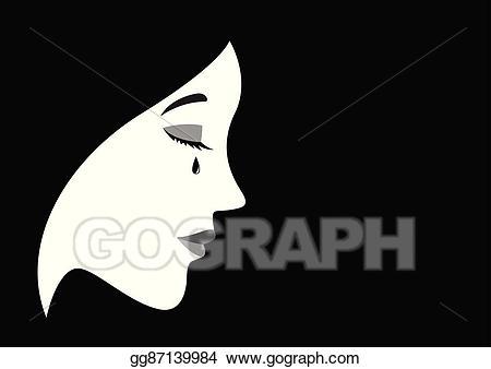 Vector stock face illustration. Cry clipart sad woman