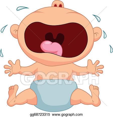 Crying clipart cartoon. Vector stock baby boy