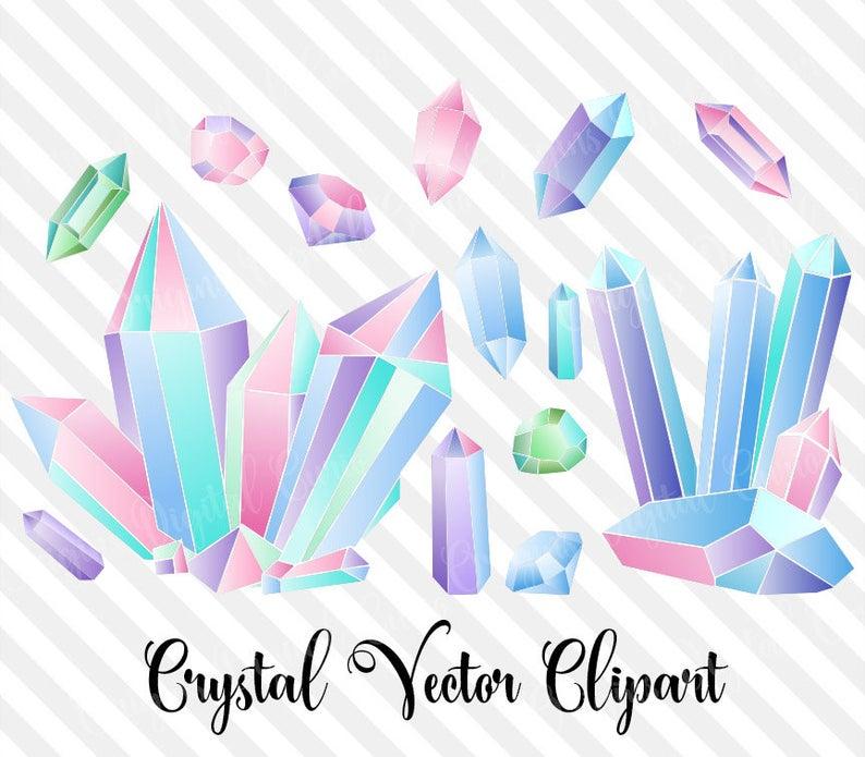Vectors vector diamonds rainbow. Crystal clipart