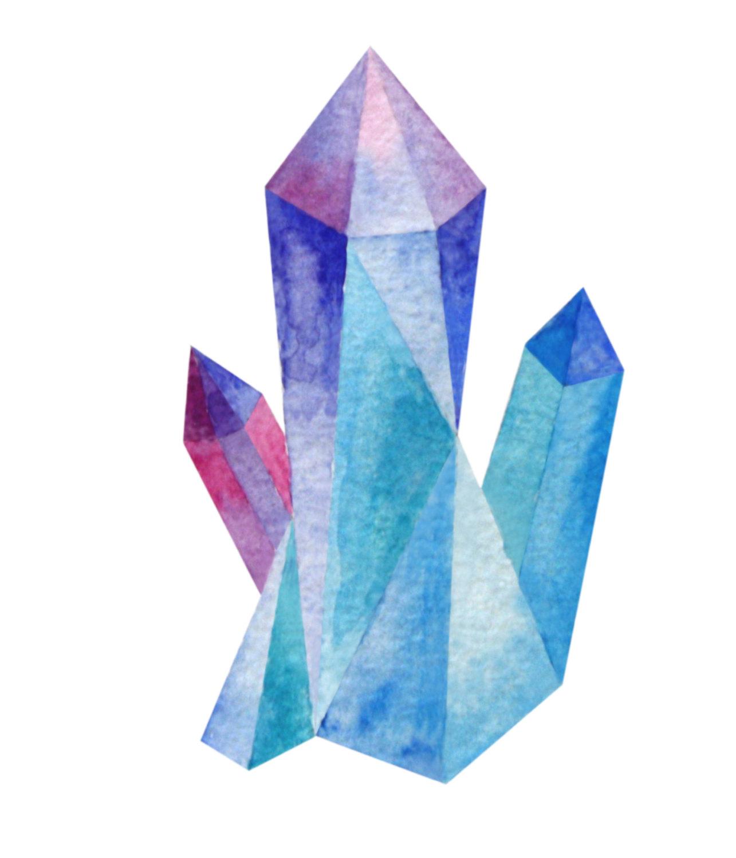 Crystals watercolor . Crystal clipart