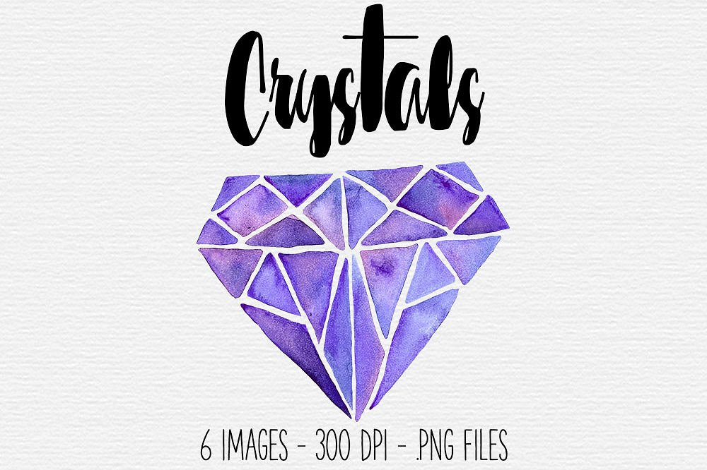 Purple watercolor illustrations creative. Crystal clipart