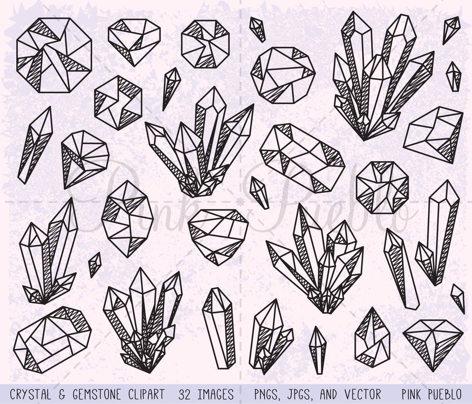 Crystal clipart. And gemstone vectors pinkpueblo