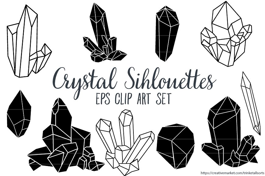 Silhouettes clip art eps. Crystal clipart