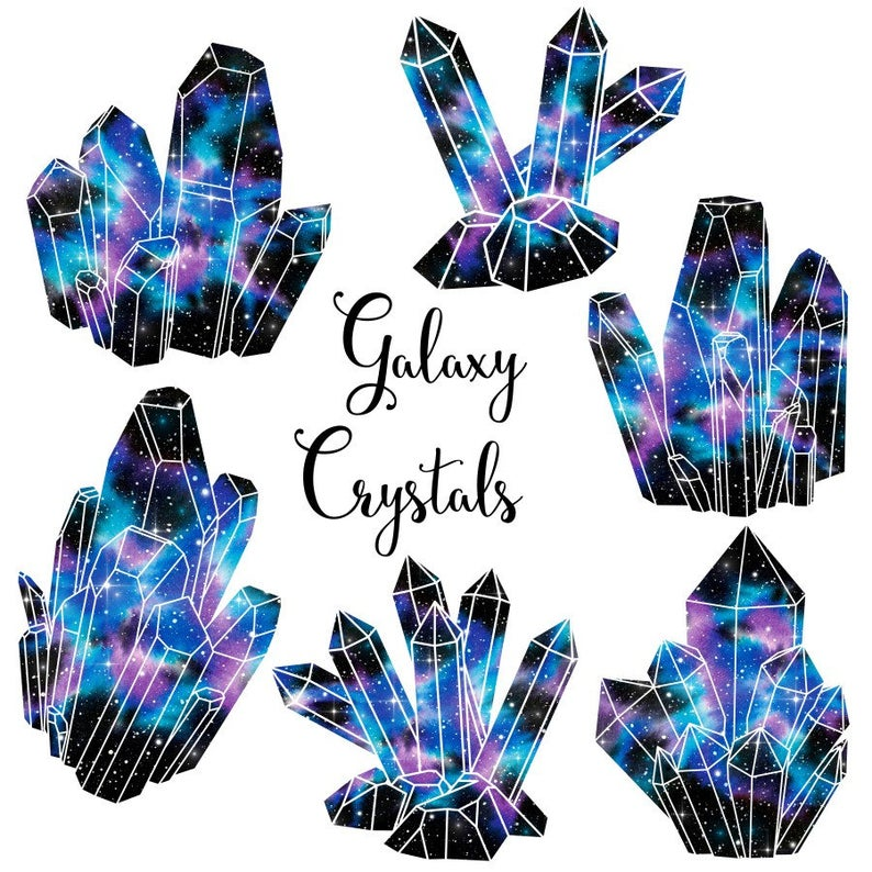 Crystal clipart. Galaxy crystals watercolor clusters