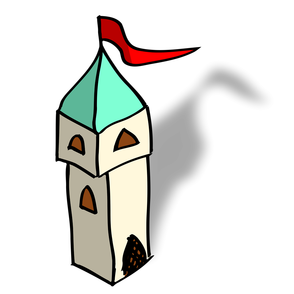 Cartoon pencil and in. Tower clipart turret castle
