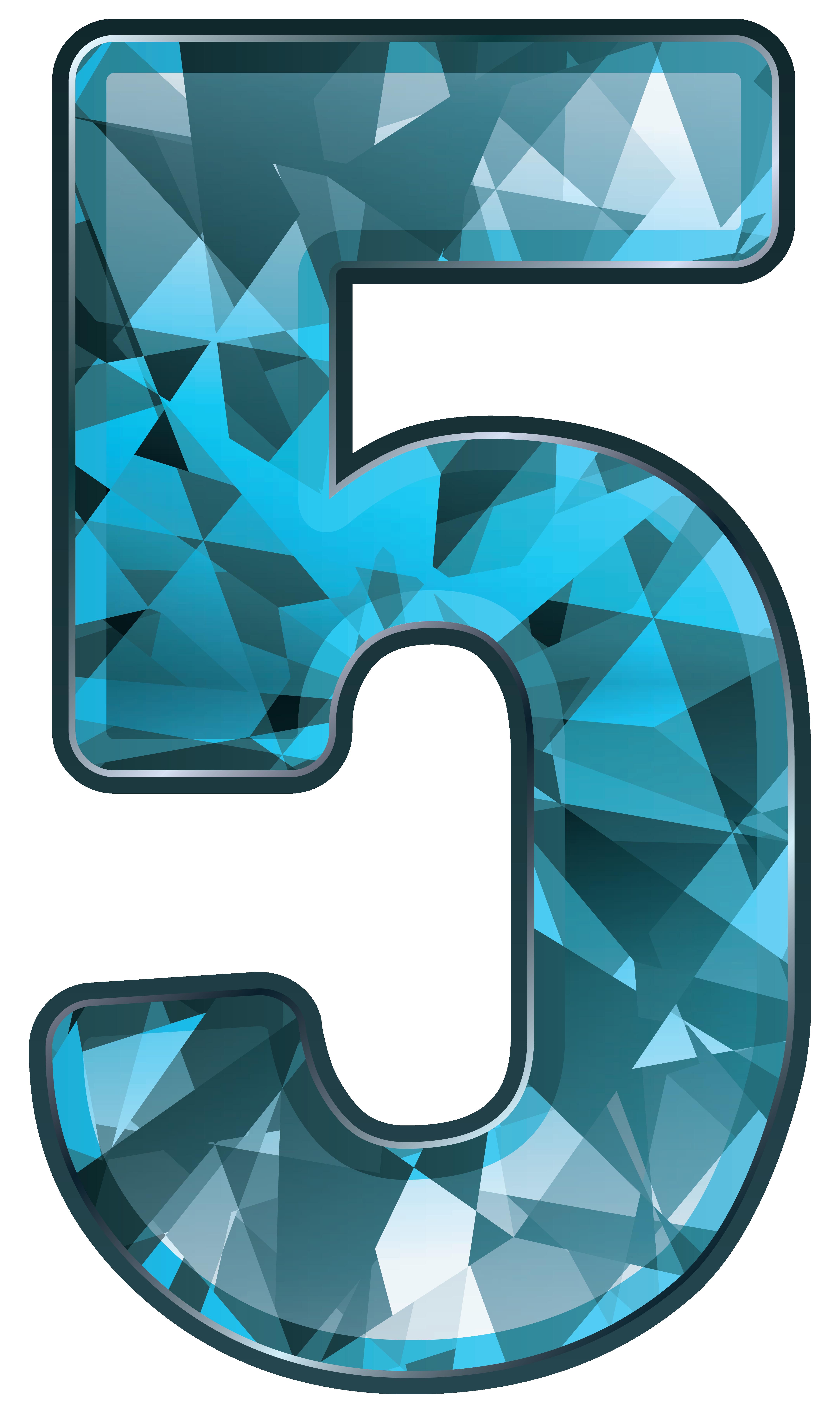 Number five png image. Crystal clipart blue crystal