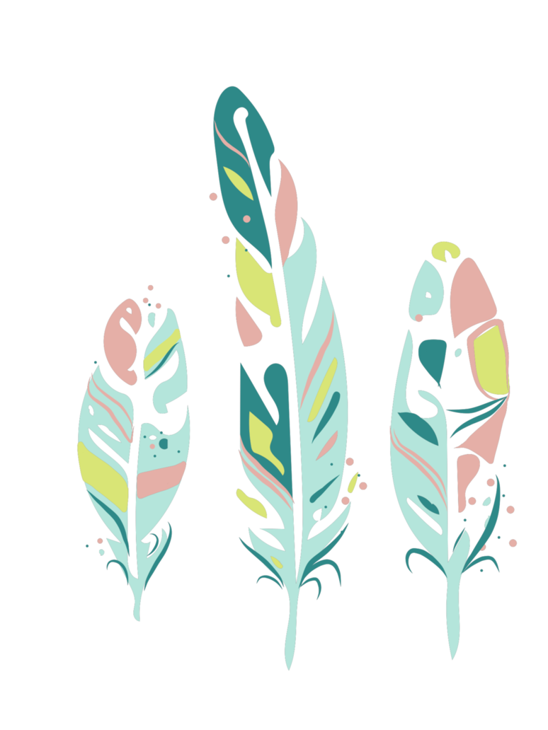 Feathers green boho hand. Feather clipart three