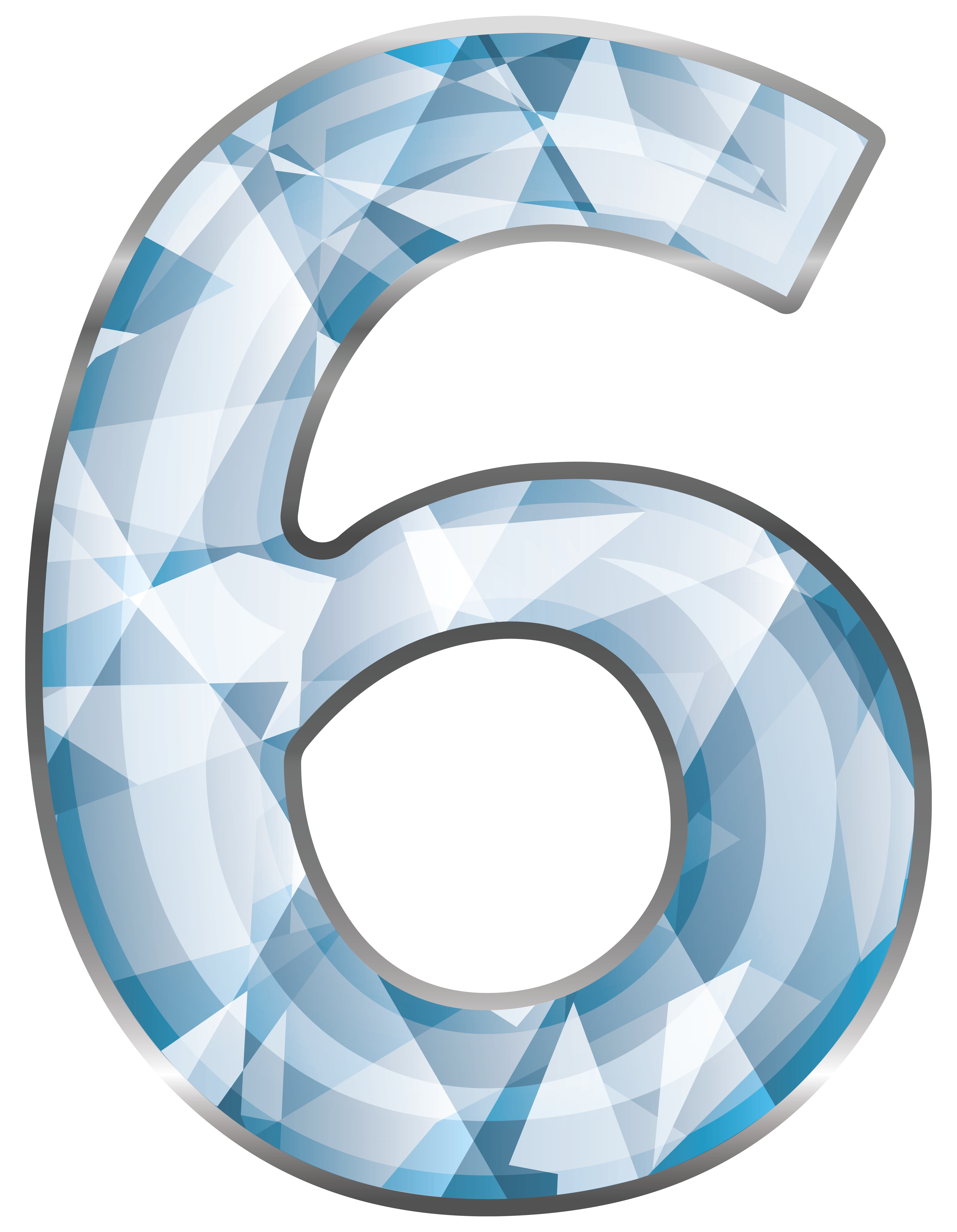 Ice clipart six. Crystal number png image