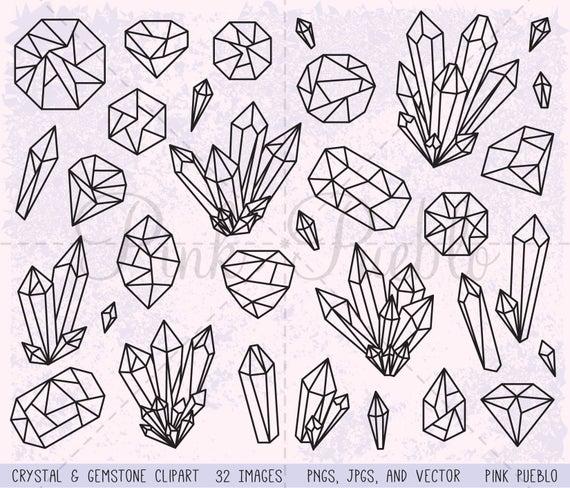 Crystal clipart clip art. Gemstone gem digital stamps