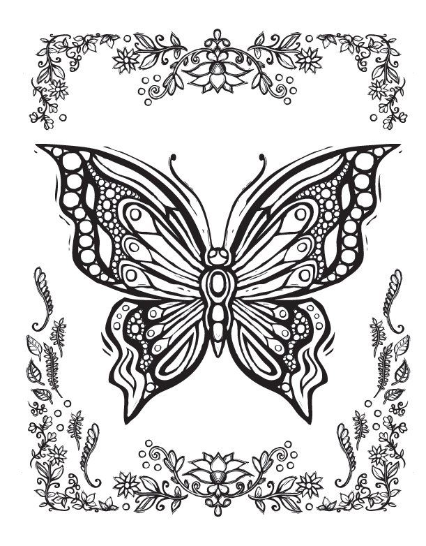 Wing clipart coloring page. Sacred nature butterfly papillon