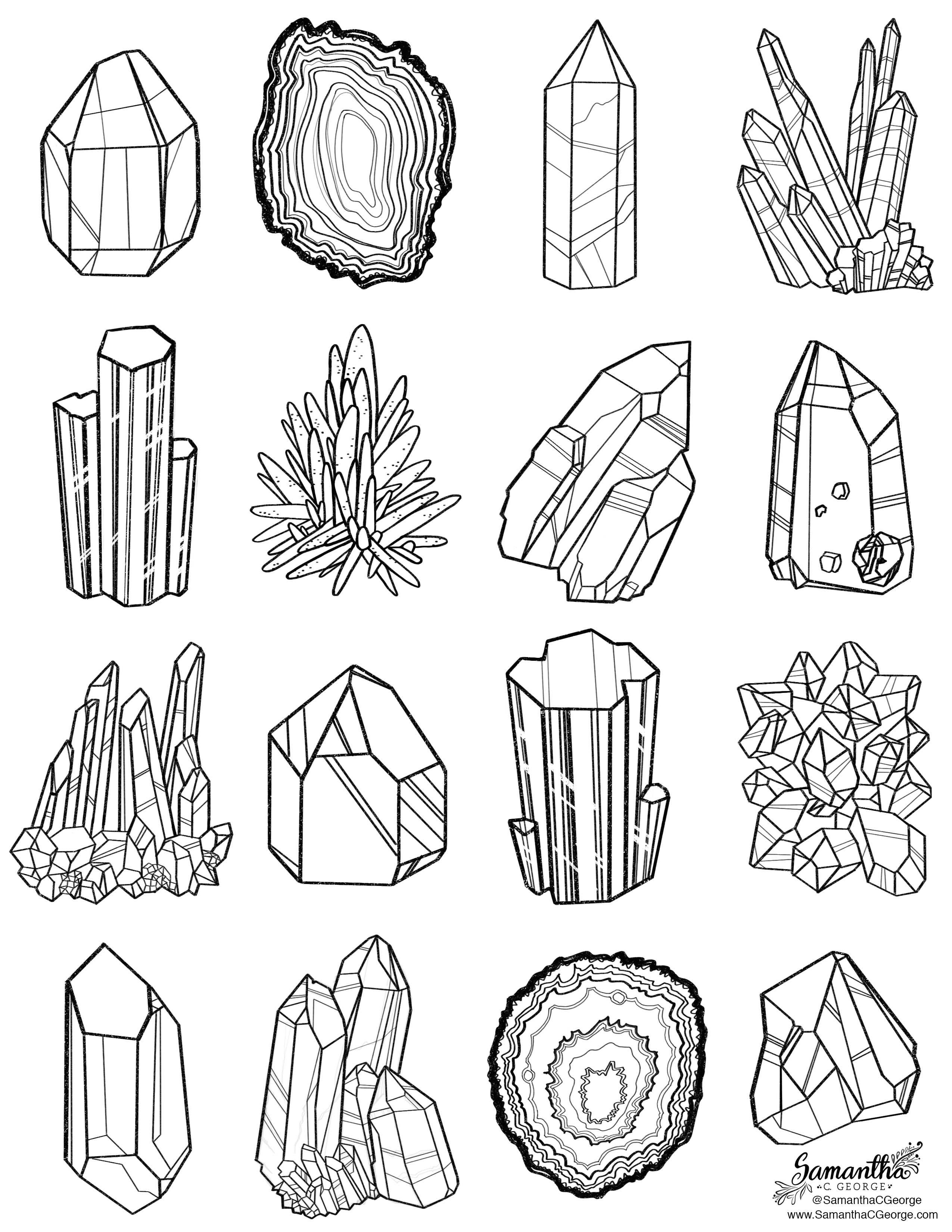 Gem clipart coloring page. Printable printables drawings art