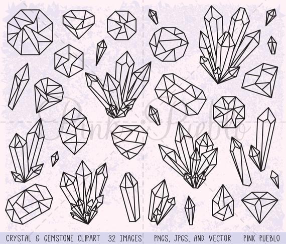 Gem clipart clip art. Crystal gemstone digital stamps