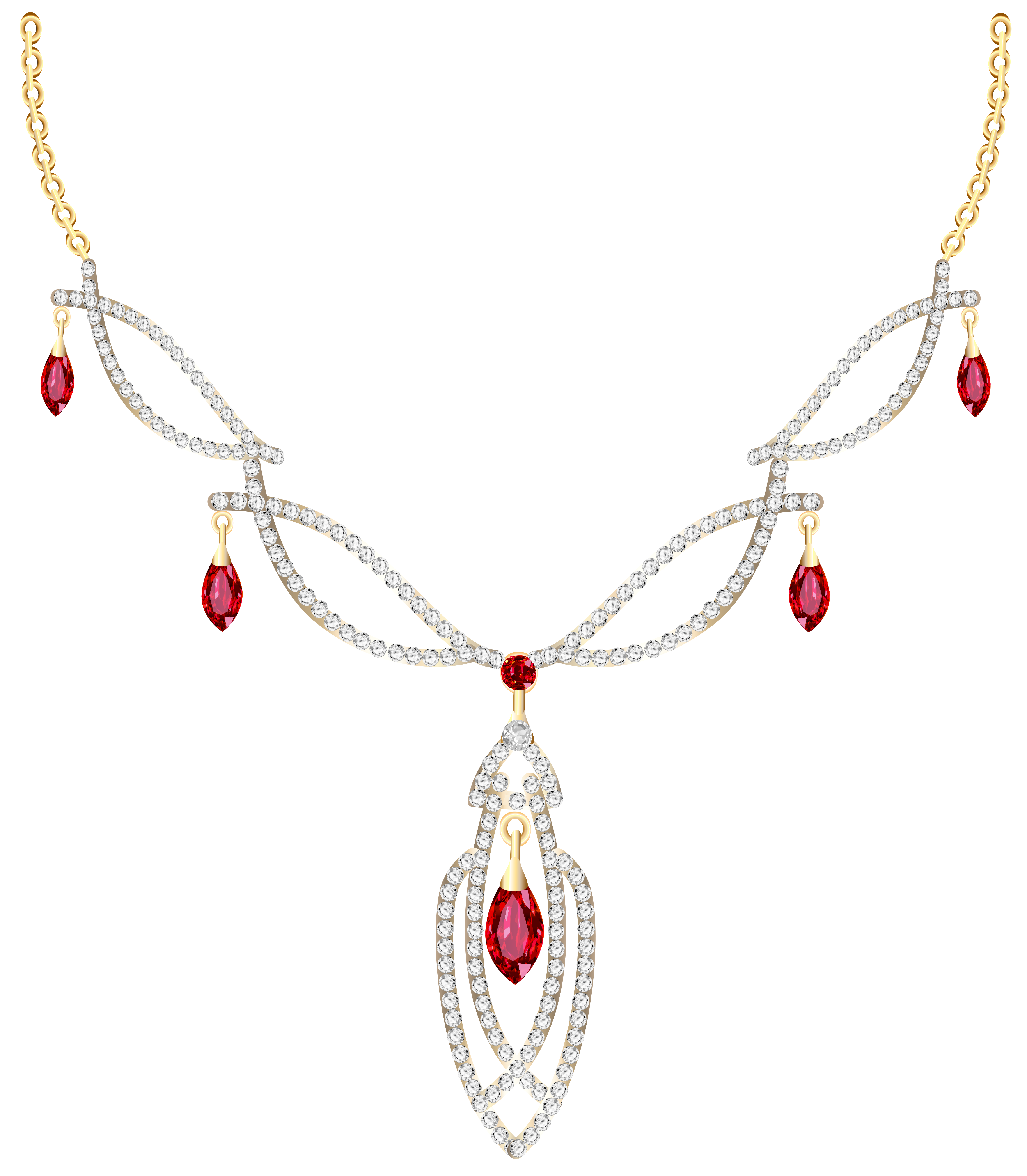 Garland clipart pendant. Golden necklace with diamonds