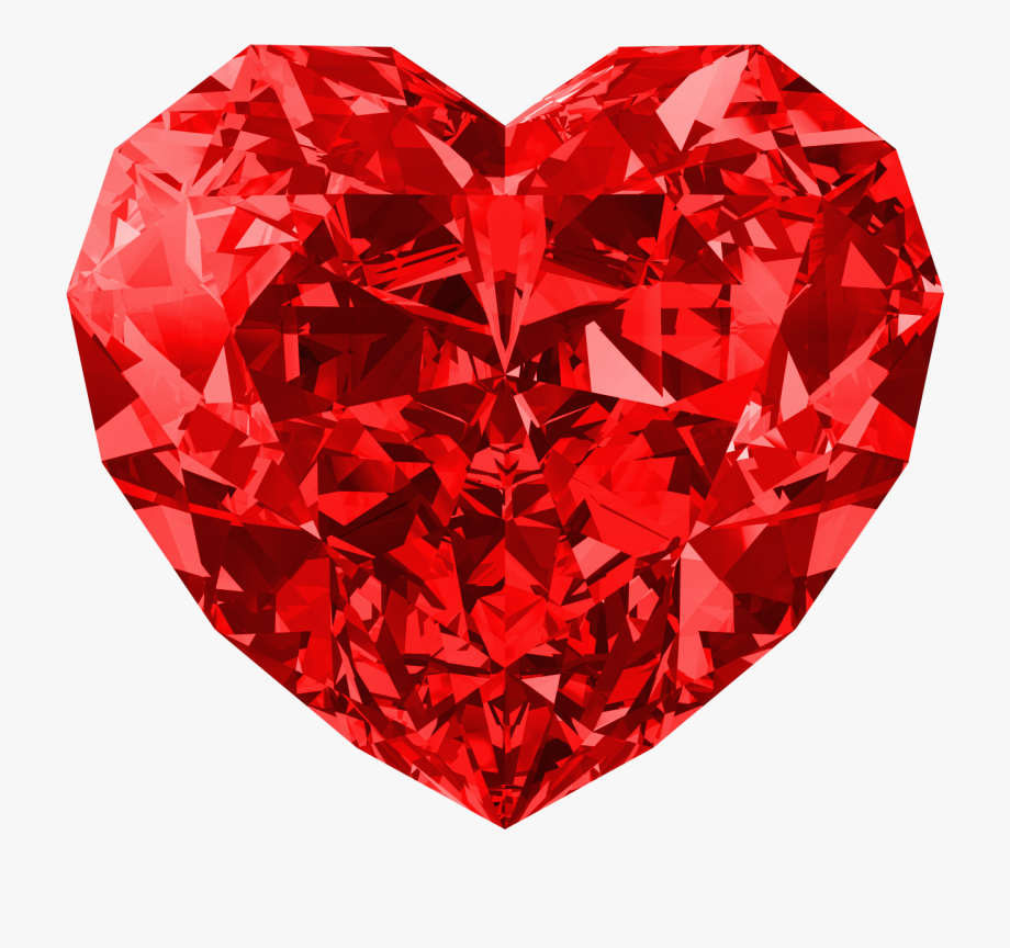 Crystal clipart large. Red diamond heart free