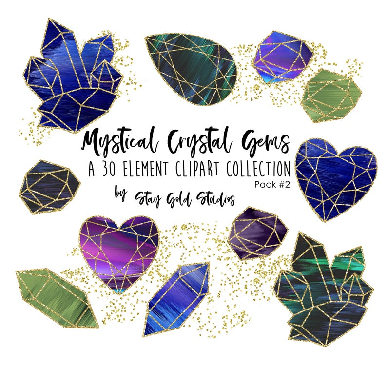 Crystal clipart large. Mystical gems pack set
