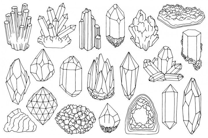 Crystal clipart mineral resource. Watercolor crystals minerals gems