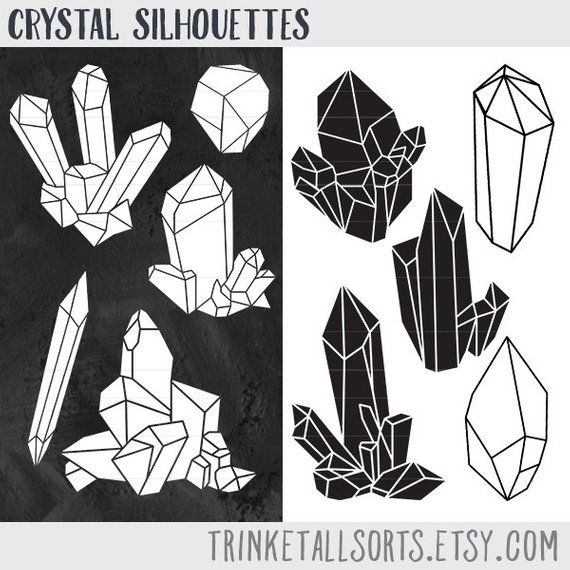 Raw clip art silhouettes. Crystal clipart real crystal