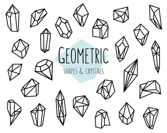 Geometric shapes and crystals. Crystal clipart sugar crystal