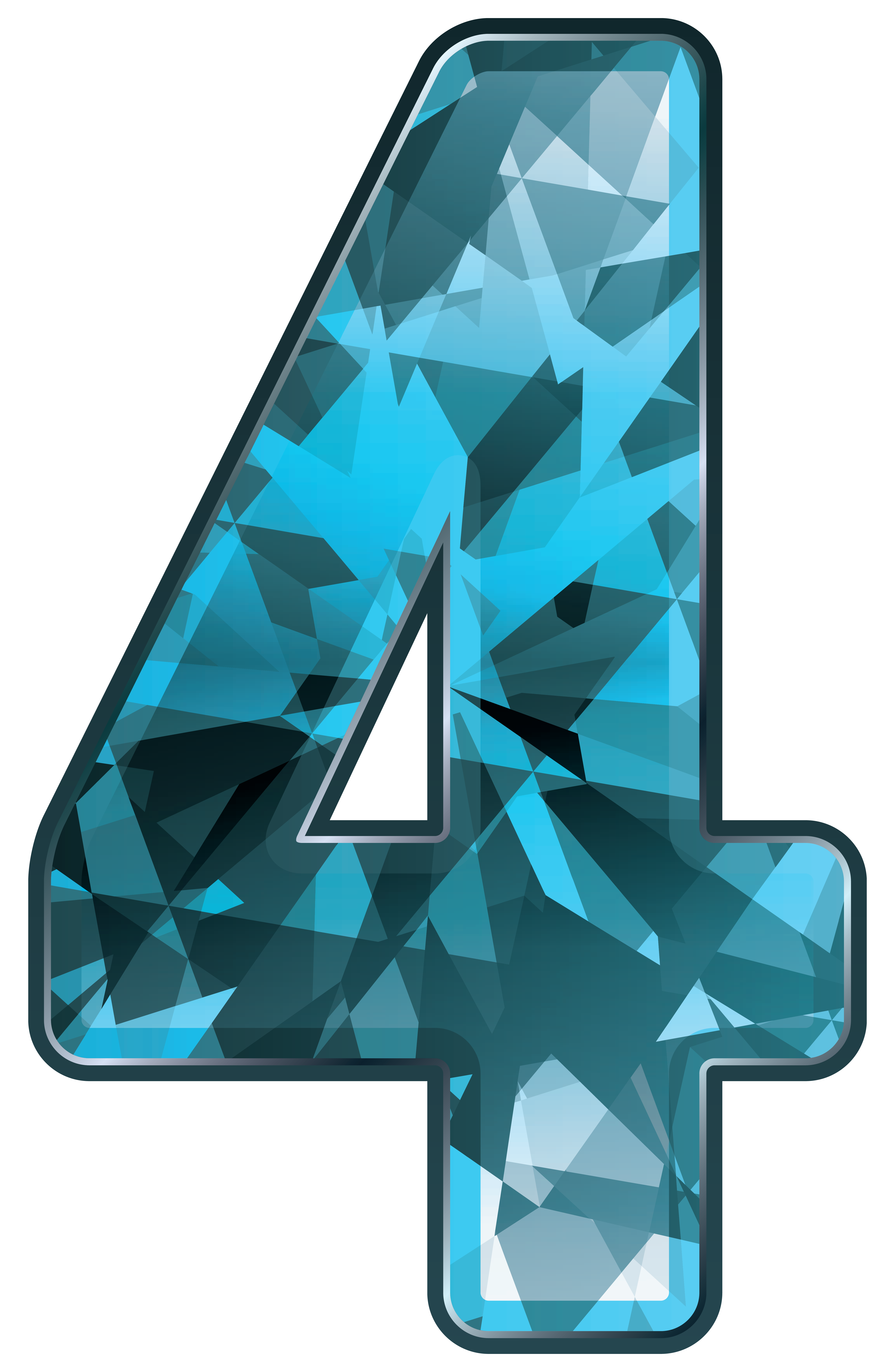 Crystal four png image. Number clipart blue
