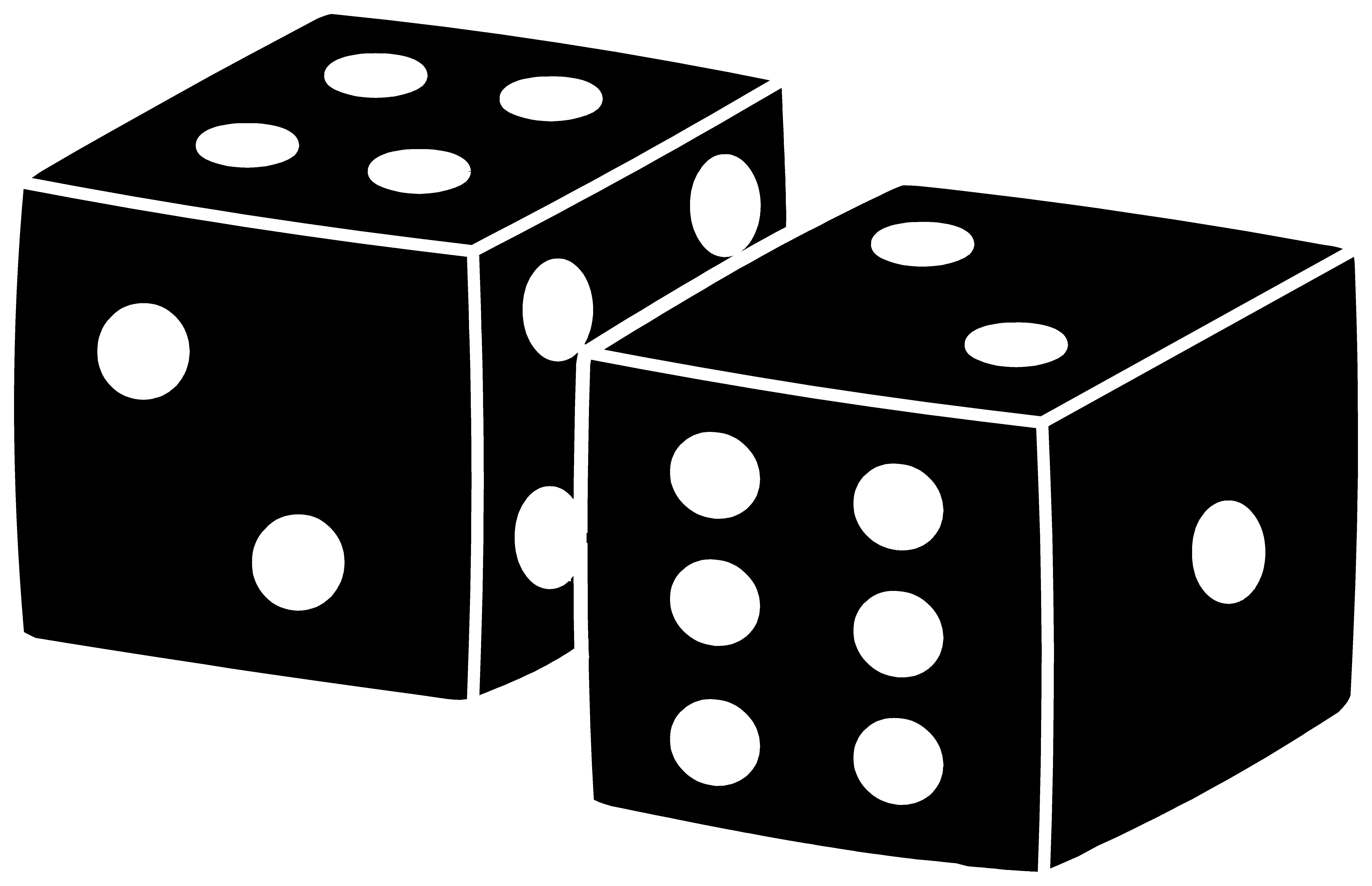 Black and white fototo. Square clipart dice