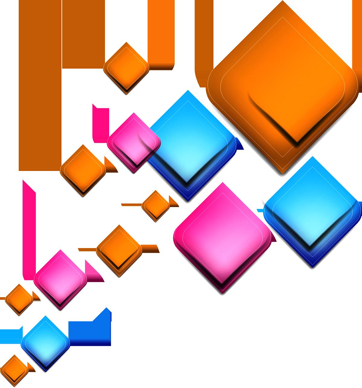 Geometry light geometric shape. Square clipart colorful square
