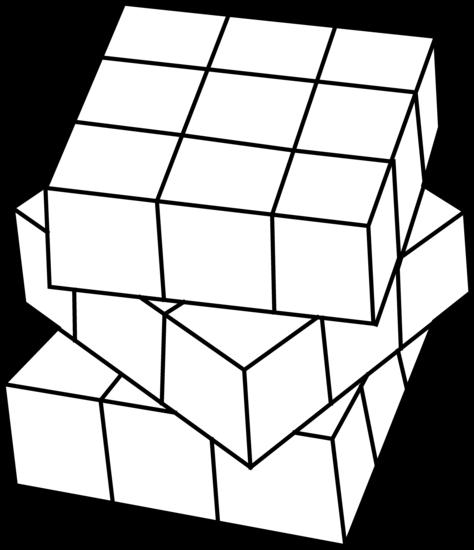 Cube clipart line art. Rubiks free clip