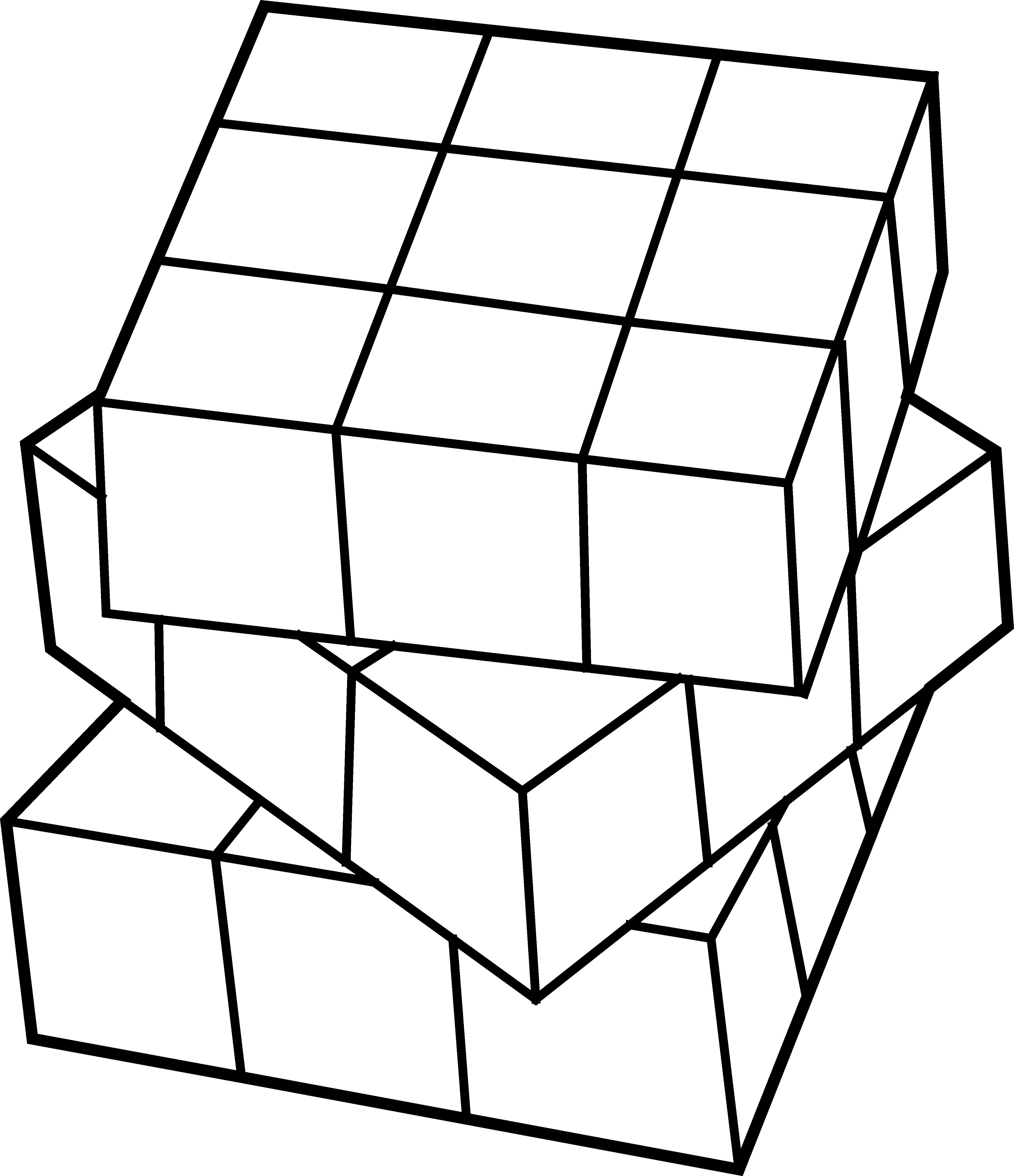 Rubiks free clip. Cube clipart line art