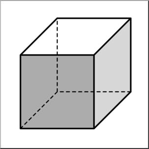 Cube clipart line art. Clip d solids grayscale