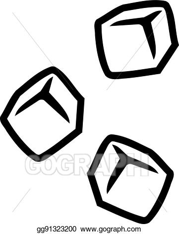 Ice clipart vector. Cubes outline illustration