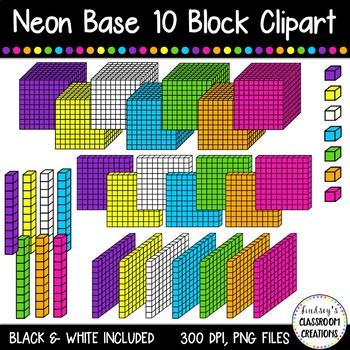 Neon base ten blocks. Cube clipart place value