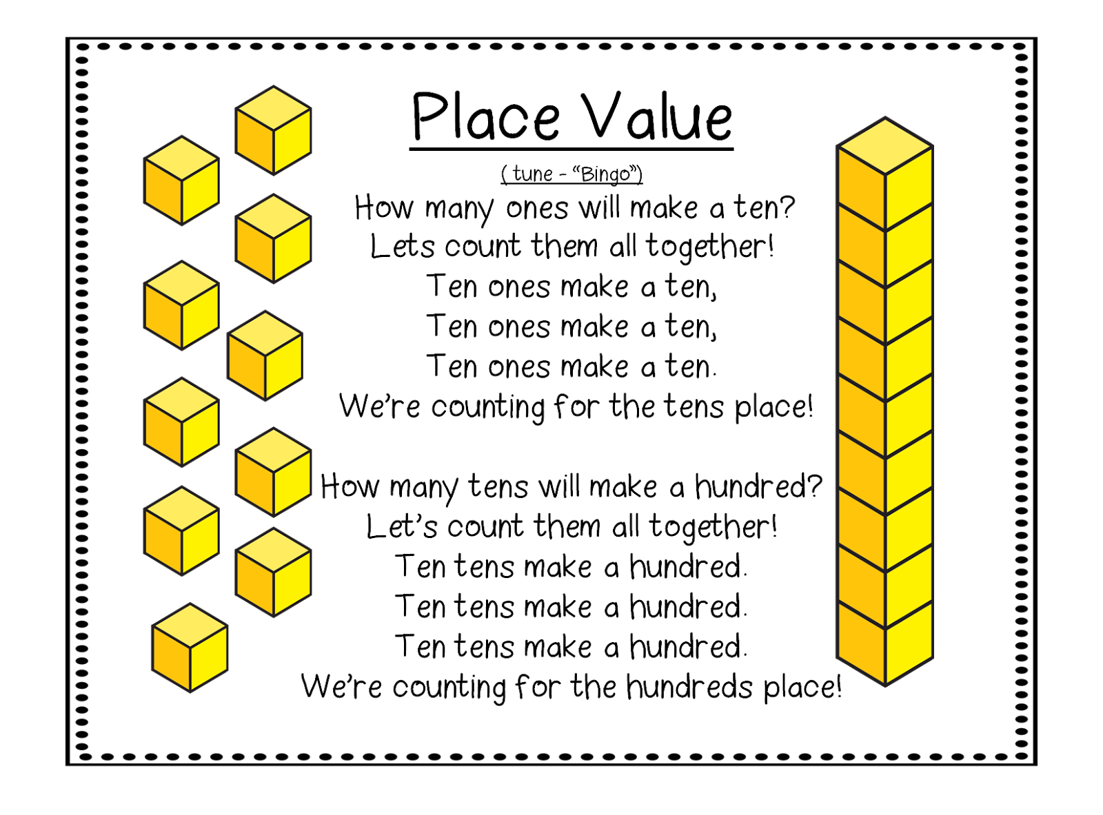cube clipart place value