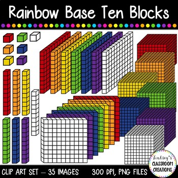 Rainbow base ten blocks. Cube clipart place value