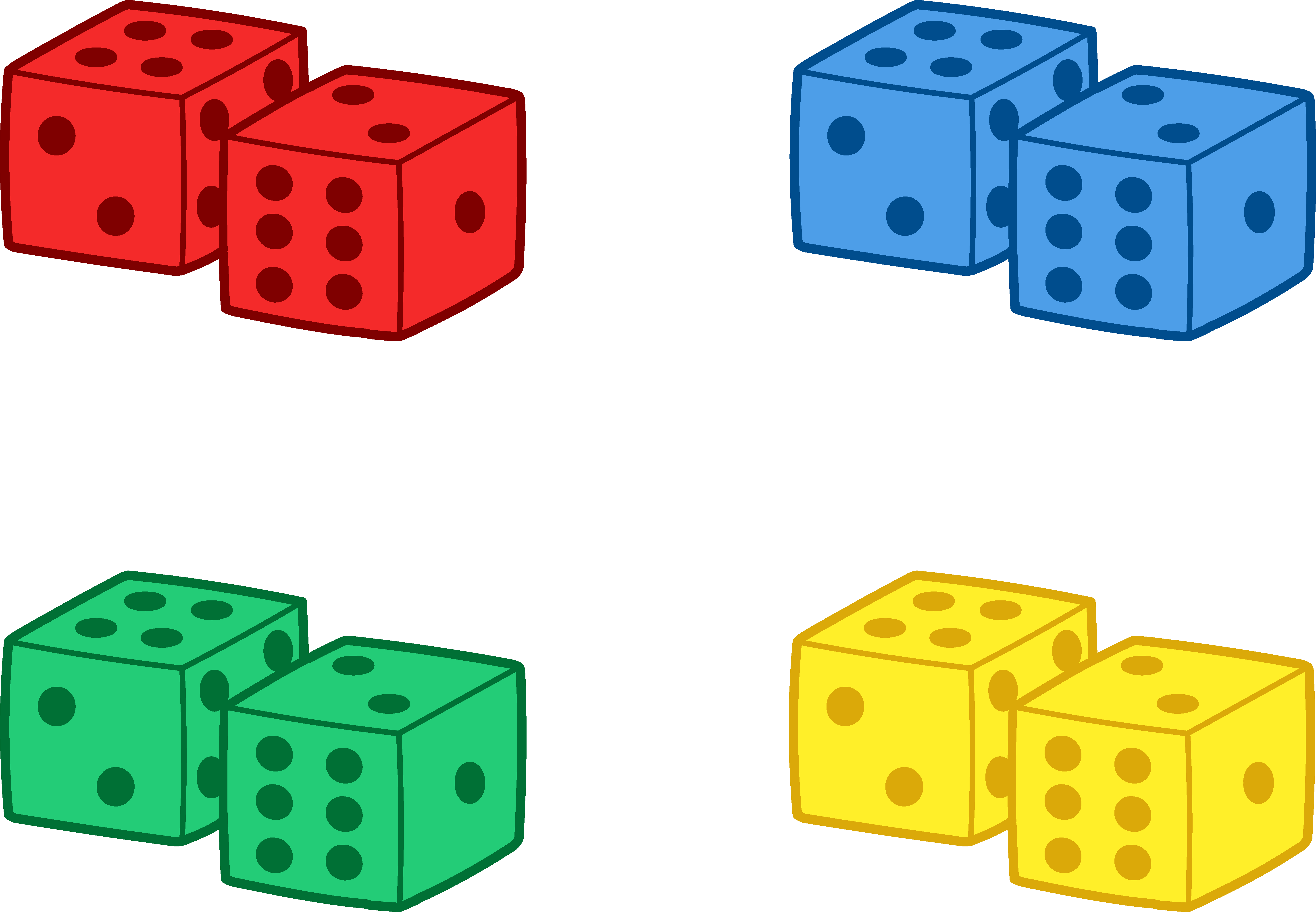 Set of colorful playing. Play clipart dice game