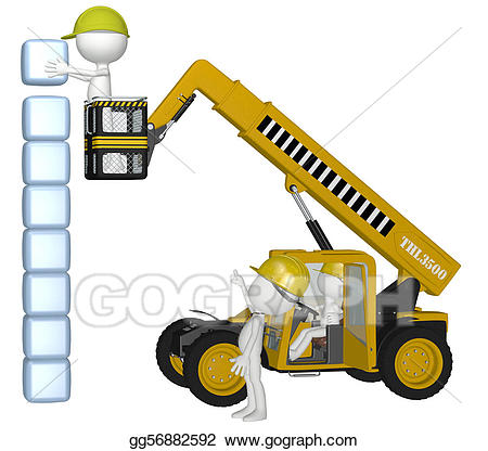 Cube clipart stack. Stock illustration construction equipment