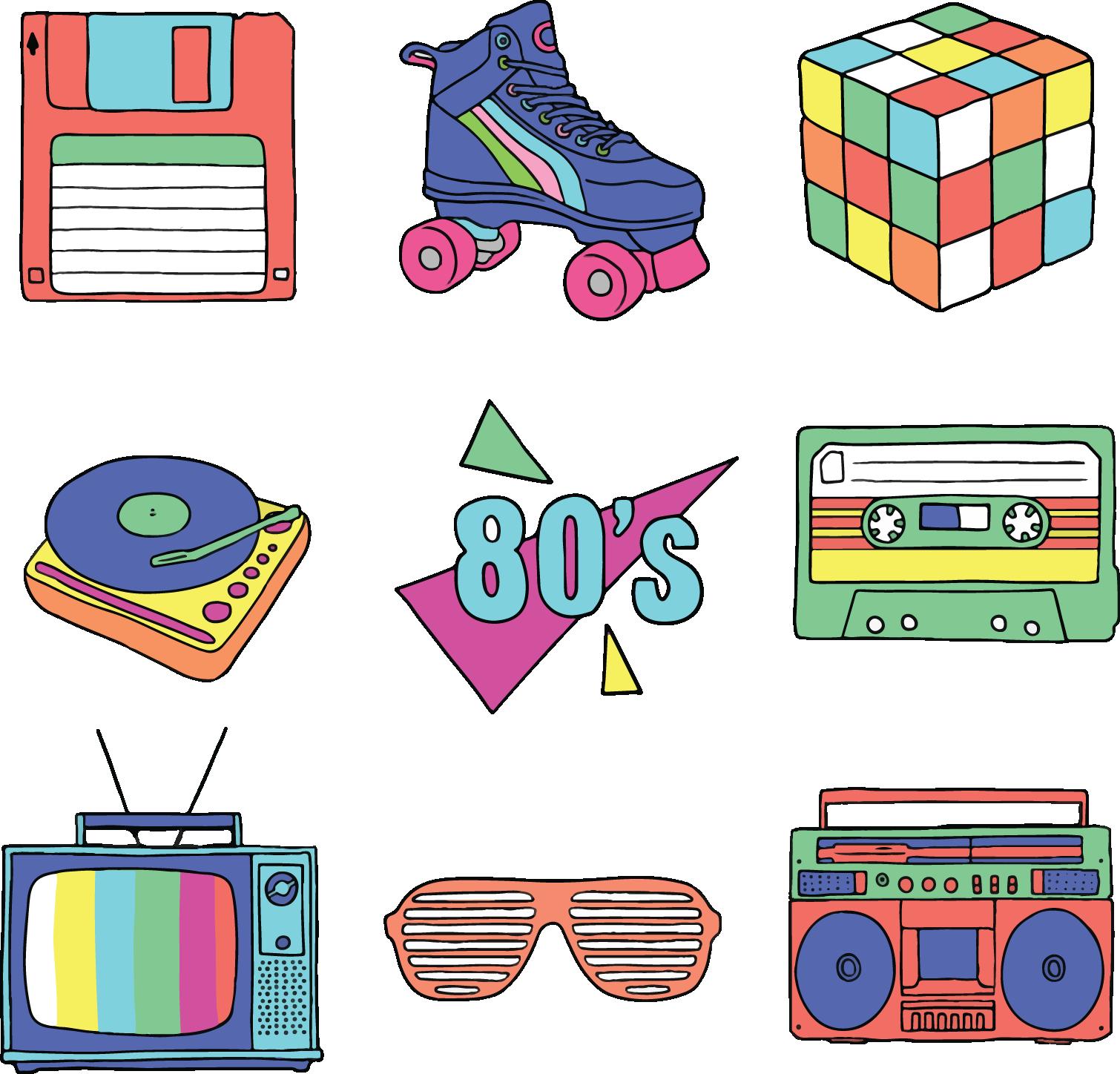 Adobe illustrator clip art. 80's clipart transparent