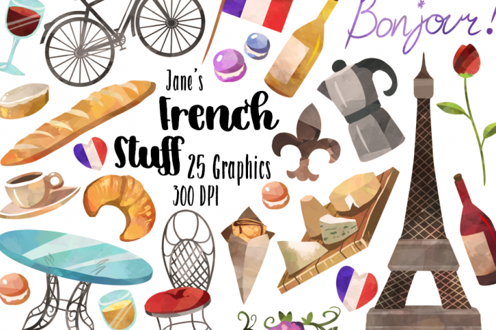 French clipart. Watercolor culture by digitalartsi