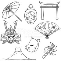 Culture element in stock. Japanese clipart black and white