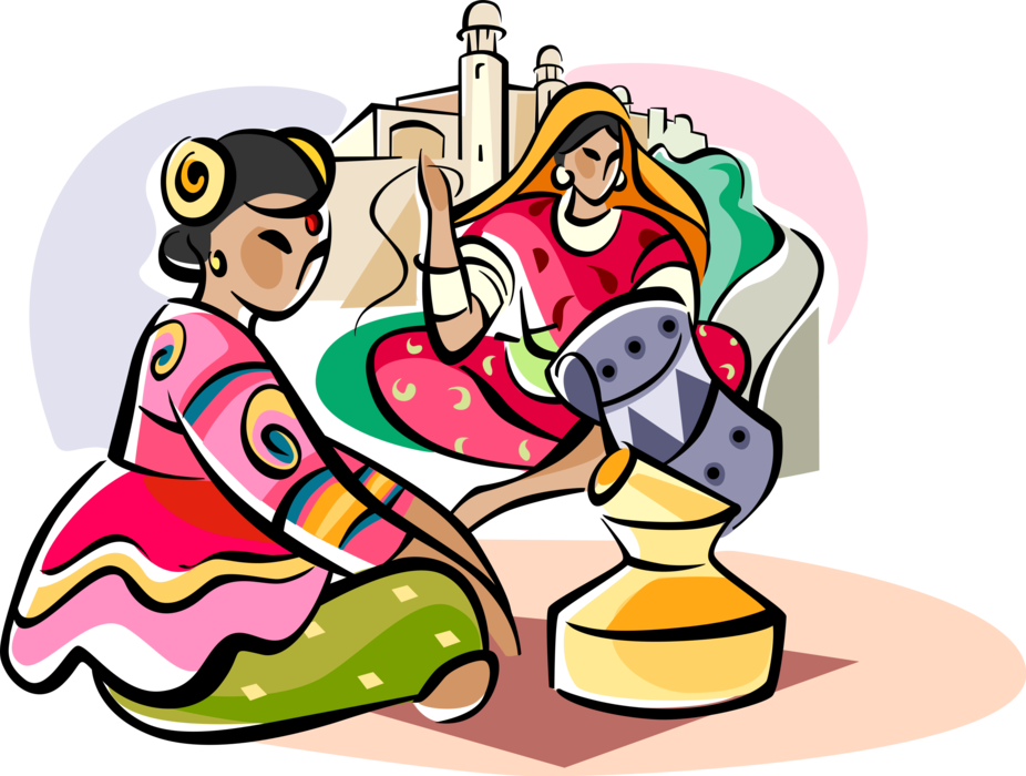 Indians clipart vector. Indian women in traditional