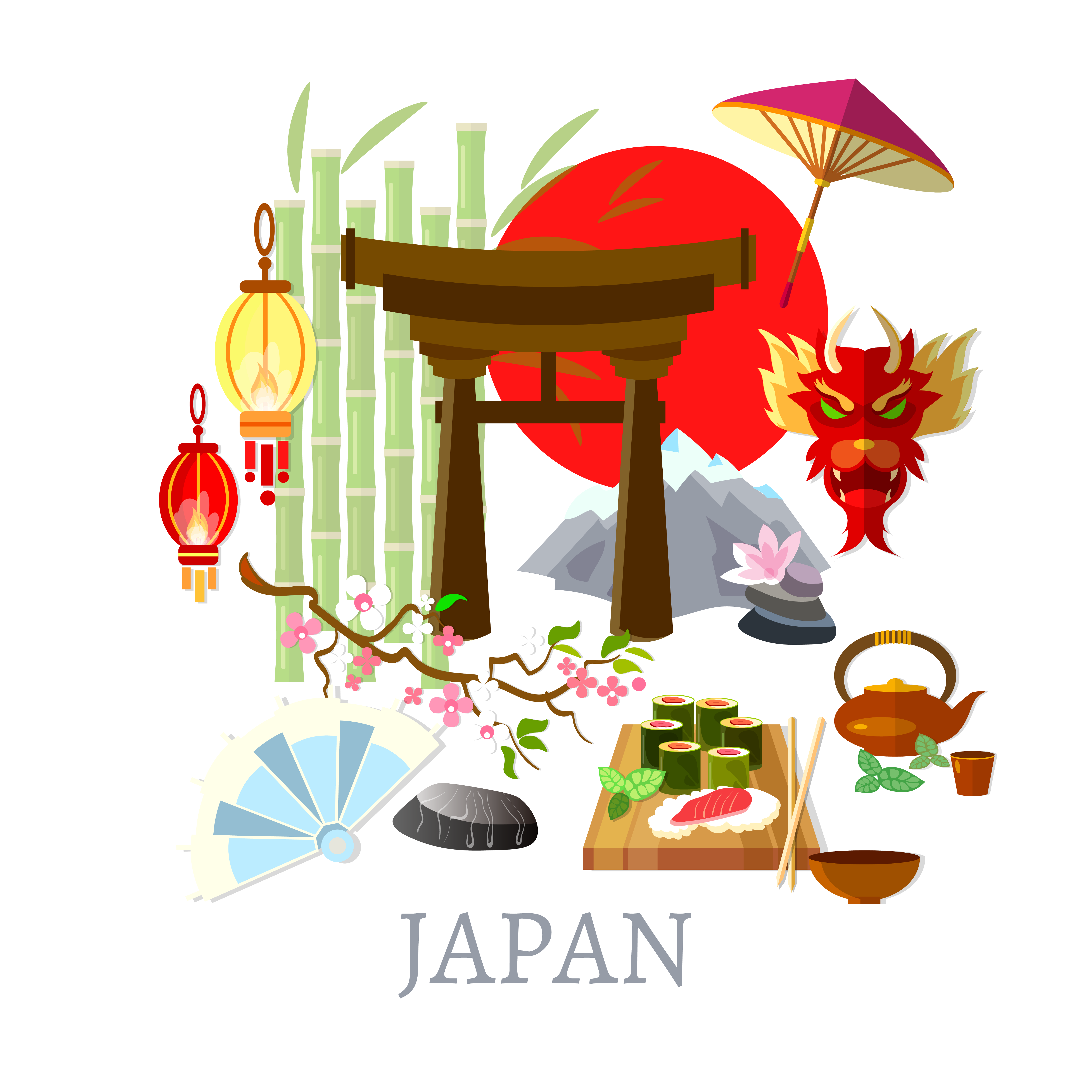 Japanese clipart culture japanese. Of japan tradition illustration