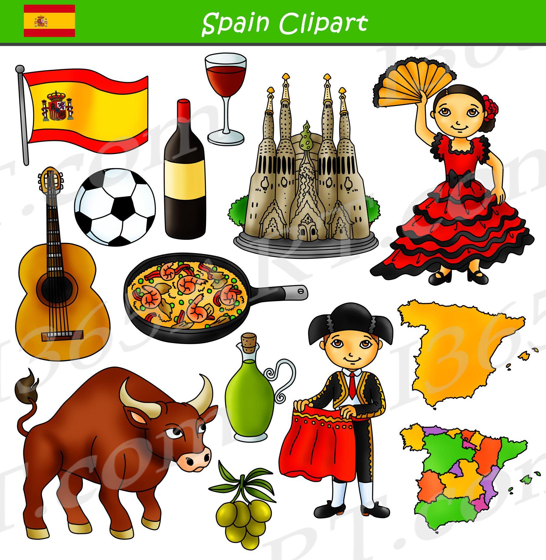 Culture clipart diffrent. Spain graphics bundle set