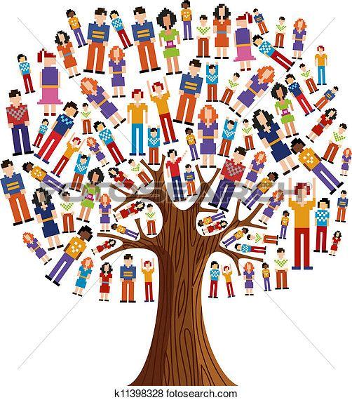 Diversity pixel human tree Clip Art | classroom ideas ...