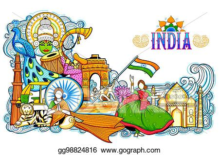 Diversity clipart cultural festival. Vector india background showing