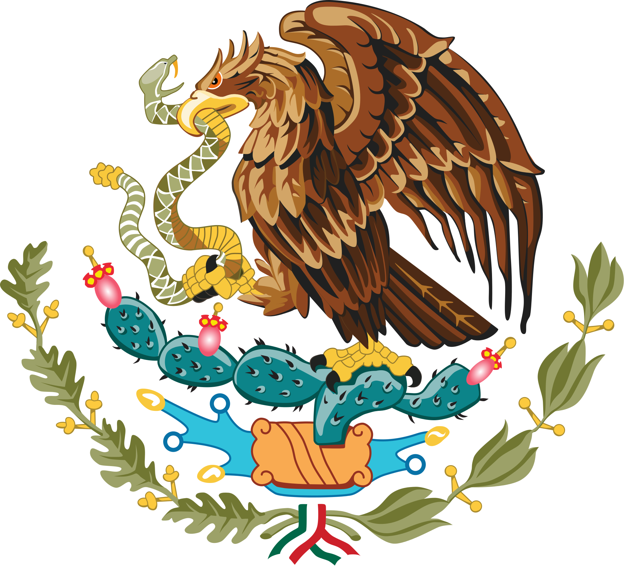 Coat of arms mexico. Snake clipart eagle