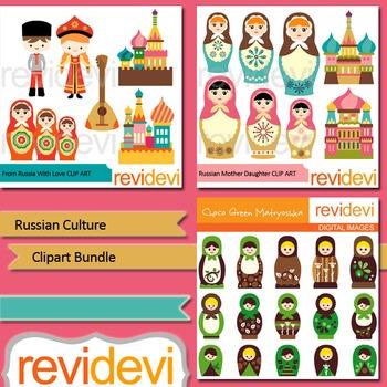 Russian clip art bundle. Culture clipart resource
